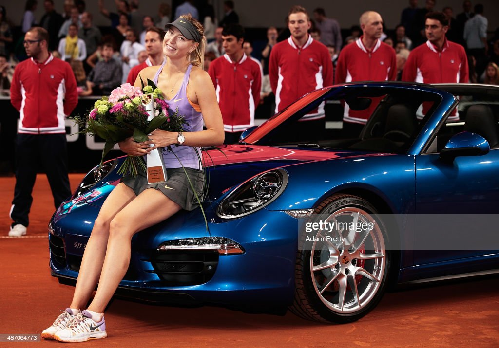 <a gi-track='captionPersonalityLinkClicked' href=/galleries/search?phrase=Maria+Sharapova&family=editorial&specificpeople=157600 ng-click='$event.stopPropagation()'>Maria Sharapova</a> of Russia celebrates victory in the final against Ana Ivanovic of Serbia on day seven of the Porsche Tennis Grand Prix 2014 at Porsche-Arena on April 27, 2014 in Stuttgart, Germany.