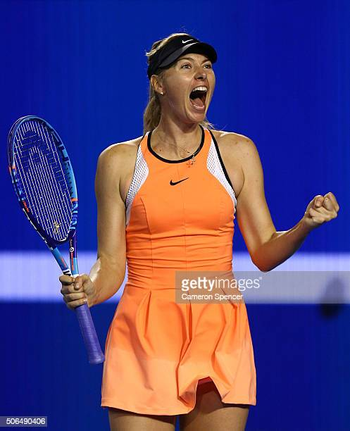 Maria Sharapova of Russia celebrates winning her fourth round match against Belinda Bencic of Switerland during day seven of the 2016 Australian Open...