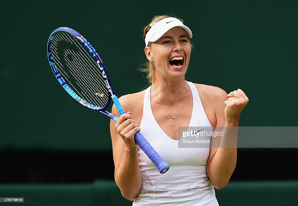 <a gi-track='captionPersonalityLinkClicked' href=/galleries/search?phrase=Maria+Sharapova&family=editorial&specificpeople=157600 ng-click='$event.stopPropagation()'>Maria Sharapova</a> of Russia celebrates winning her Ladies Singles Quarter Final match against Coco Vandeweghe of the United States during day eight of the Wimbledon Lawn Tennis Championships at the All England Lawn Tennis and Croquet Club on July 7, 2015 in London, England.