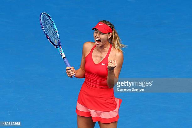 Maria Sharapova of Russia celebrates winning her quarterfinal match against Eugenie Bouchard of Canada during day nine of the 2015 Australian Open at...