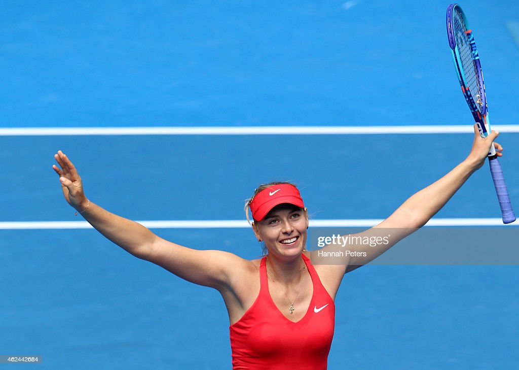 <a gi-track='captionPersonalityLinkClicked' href=/galleries/search?phrase=Maria+Sharapova&family=editorial&specificpeople=157600 ng-click='$event.stopPropagation()'>Maria Sharapova</a> of Russia celebrates winning her semifinal match against Ekaterina Makarova of Russia during day 11 of the 2015 Australian Open at Melbourne Park on January 29, 2015 in Melbourne, Australia.