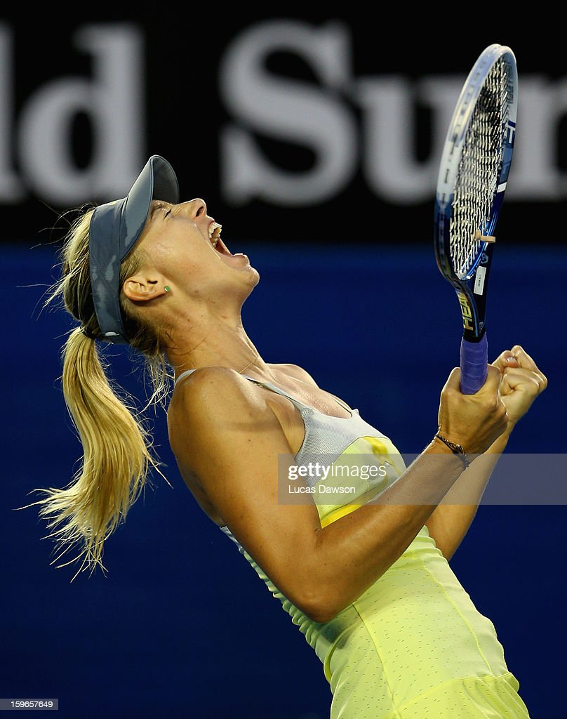 <a gi-track='captionPersonalityLinkClicked' href=/galleries/search?phrase=Maria+Sharapova&family=editorial&specificpeople=157600 ng-click='$event.stopPropagation()'>Maria Sharapova</a> of Russia celebrates winning her third round match against Venus Williams of the United States during day five of the 2013 Australian Open at Melbourne Park on January 18, 2013 in Melbourne, Australia.