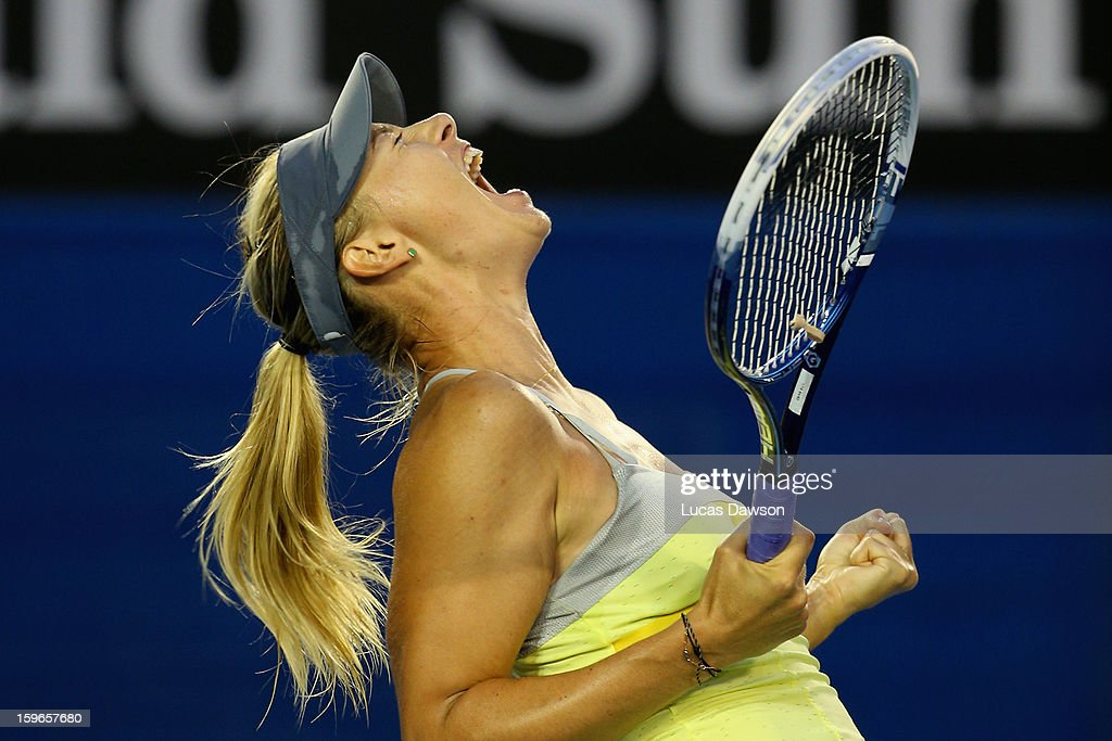 Maria Sharapova of Russia celebrates winning her third round match against Venus Williams of the United States during day five of the 2013 Australian Open at Melbourne Park on January 18, 2013 in Melbourne, Australia.