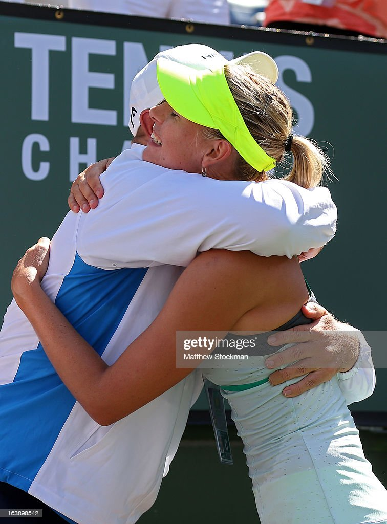 Maria Sharapova of Russia celebrates with her coach after defeating Caroline Wozniacki of Denmark in straight sets to win the women's final match of the 2013 BNP Paribas Open at the Indian Wells Tennis Garden on March 17, 2013 in Indian Wells, California.