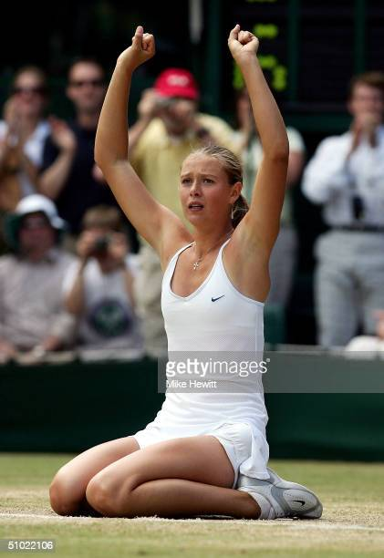 Maria Sharapova of Russia celebrating winning the ladies final match against Serena Williams of USA at the Wimbledon Lawn Tennis Championship on July...