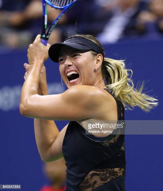 Maria Sharapova of Russia competes against Simona Halep of Romania Women's Singles within 2017 US Open Tennis Championships at Arthur Ashe Stadium in...