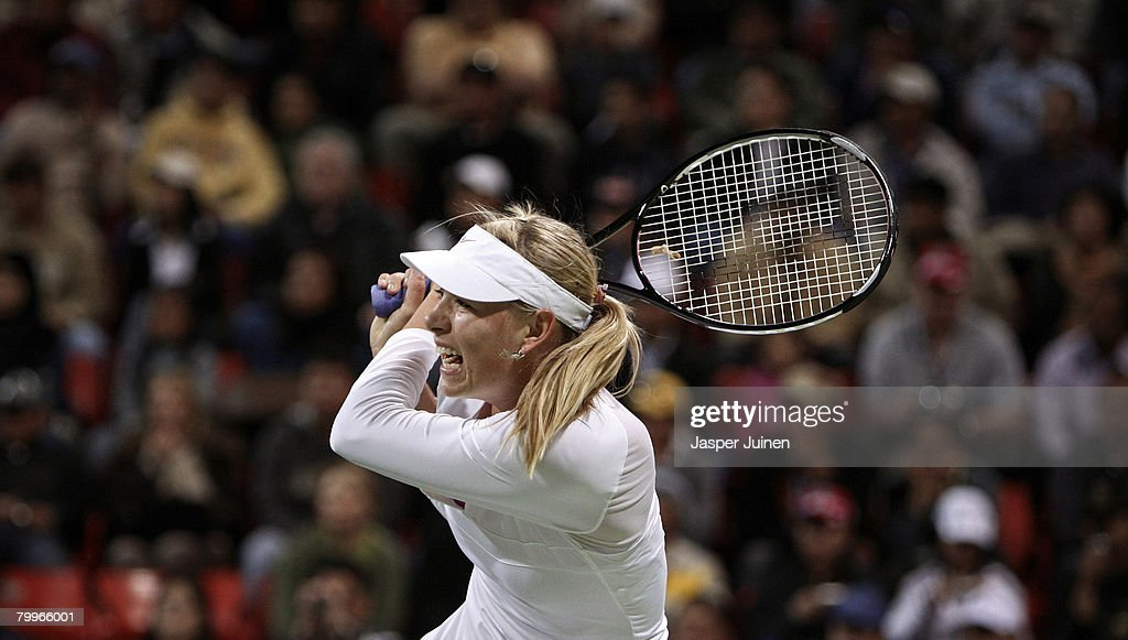 Maria Sharapova of Russia during her final match against Vera Zvonareva of Russia on day seven of the WTA Qatar Total Open at the Khalifa...