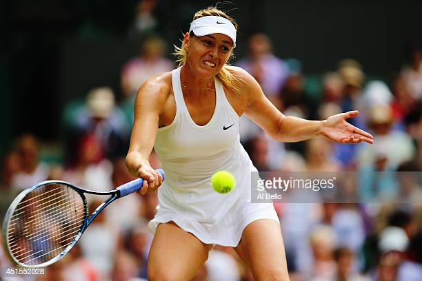 Maria Sharapova of Russia during her Ladies' Singles fourth round match against Angelique Kerber of Germany on day eight of the Wimbledon Lawn Tennis...