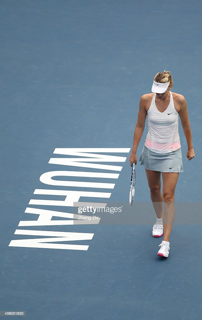 Maria Sharapova of Russia during her match against Timea Bacsinszky of Switzerland on day four of 2014 Dongfeng Motor Wuhan Open at Optics Valley...