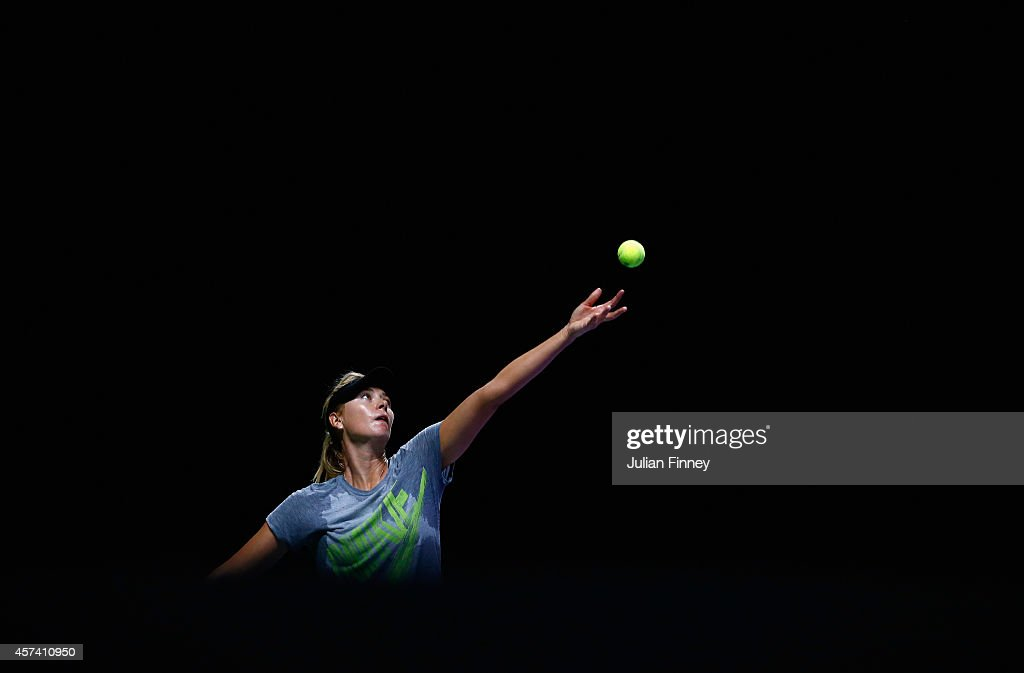 Maria Sharapova of Russia in a practice session during previews for the WTA Finals at Singapore Sports Hub on October 18, 2014 in Singapore.