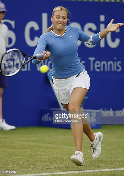 Maria Sharapova of Russia in action against Ahsha Rolle of the USA during the DFS Classic at Edgbaston on June 14 2006 in Bimingham England
