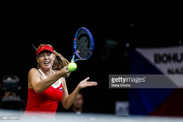 Maria Sharapova of Russia in action against Karolina Pliskova of Czech Republic during day one of the Fed Cup final match between Czech Republic and...
