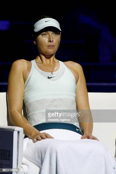 Maria Sharapova of Russia in action against Magdalena Rybarikova of Slovakia during the Women's Singles Tennis First Round match at the International...