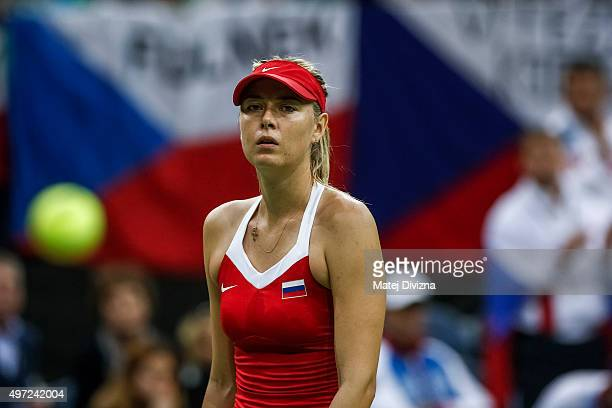Maria Sharapova of Russia in action against Petra Kvitova of Czech Republic during day two of the Fed Cup final match between Czech Republic and...