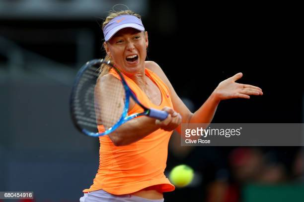 Maria Sharapova of Russia in action during her match against Eugenie Bouchard of Canada on day three of the Mutua Madrid Open tennis at La Caja...