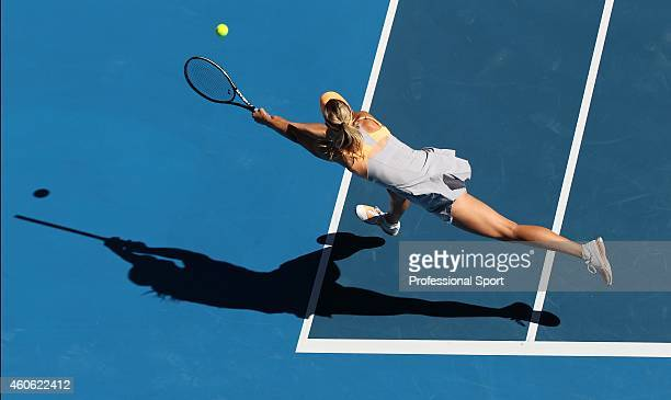 Maria Sharapova of Russia in action during her second round match against Virginie Razzano of France during day three of the 2011 Australian Open at...