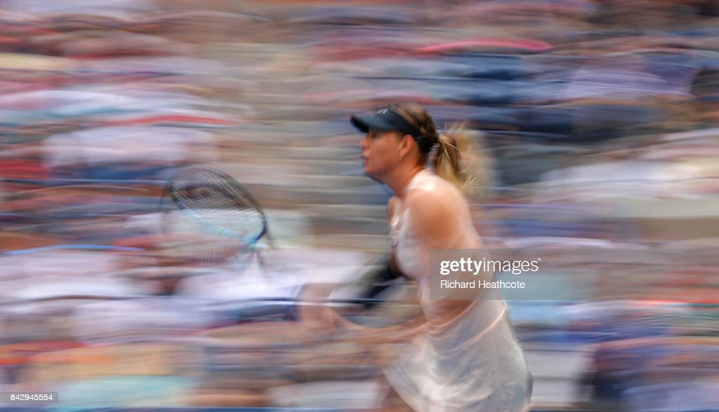 Maria Sharapova of Russia in action during her women's singles fourth round match against Anastasija Sevastova of Latvia on Day Seven of the 2017 US Open at the USTA Billie Jean King National Tennis Center on September 3, 2017 in the Flushing neighborhood of the Queens borough of New York City.