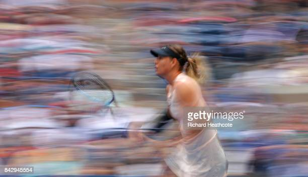 Maria Sharapova of Russia in action during her women's singles fourth round match against Anastasija Sevastova of Latvia on Day Seven of the 2017 US...