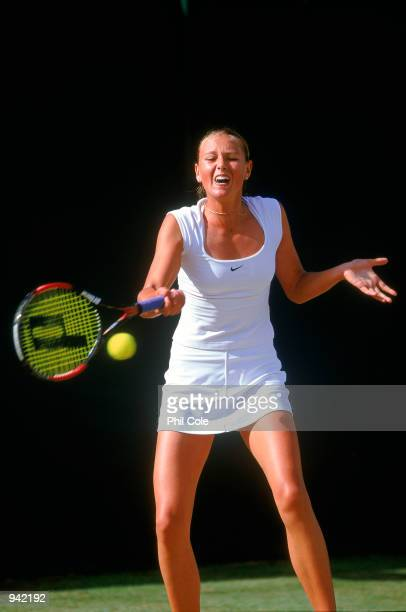Maria Sharapova of Russia in action during the Girls Singles Final at the Wimbledon Lawn Tennis Championship held at the All England Lawn Tennis and...