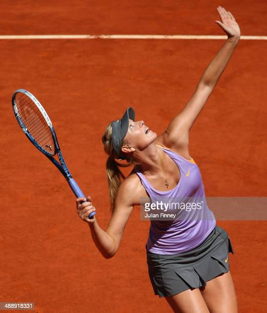 Maria Sharapova of Russia in action in her match against Li Na of China during day seven of the Mutua Madrid Open tennis tournament at the Caja...