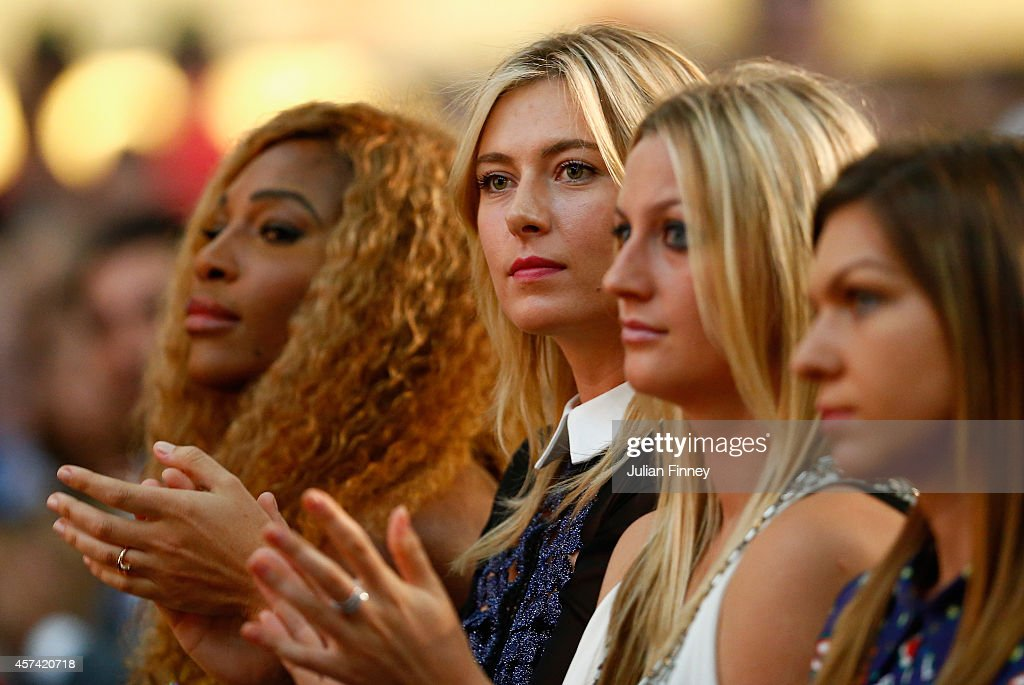 Maria Sharapova of Russia looks on at the draw during previews for the WTA Finals at the Marina Bay Sands Shopping centre on October 18, 2014 in Singapore.