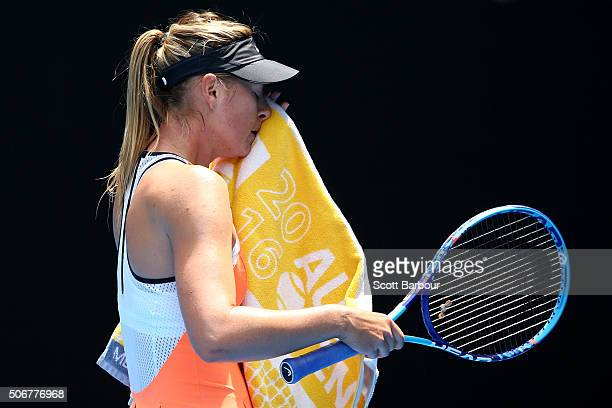 Maria Sharapova of Russia looks on in her quarter final match against Serena Williams of the United States during day nine of the 2016 Australian...