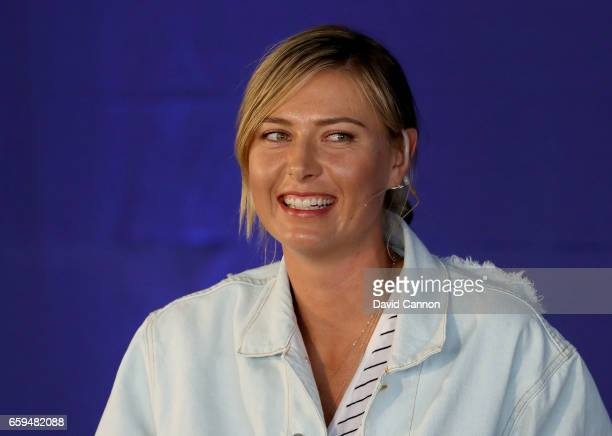 Maria Sharapova of Russia making a key note speech during the ANA Inspiring Women in Sports Conference as a preview for the 2017 ANA Inspiration at...
