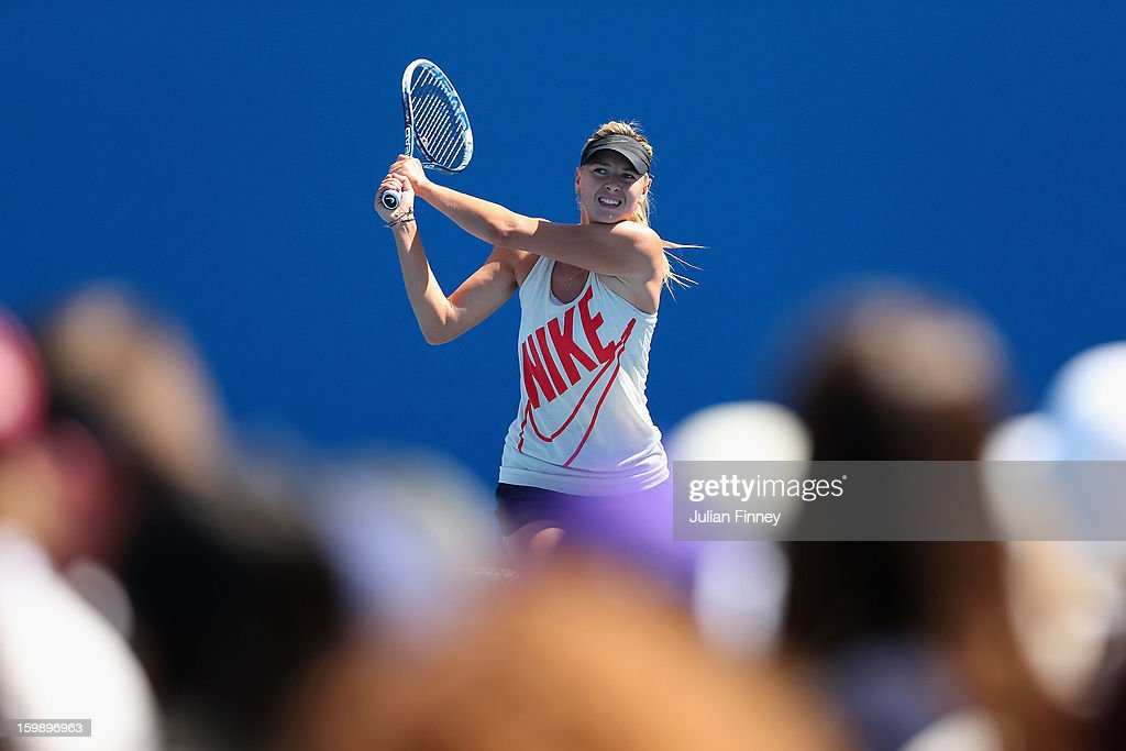 Maria Sharapova of Russia plays a backhand in a practice session during day ten of the 2013 Australian Open at Melbourne Park on January 23, 2013 in Melbourne, Australia.