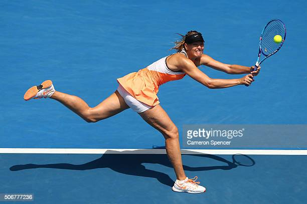 Maria Sharapova of Russia plays a backhand in her quarter final match against Serena Williams of the United States during day nine of the 2016...