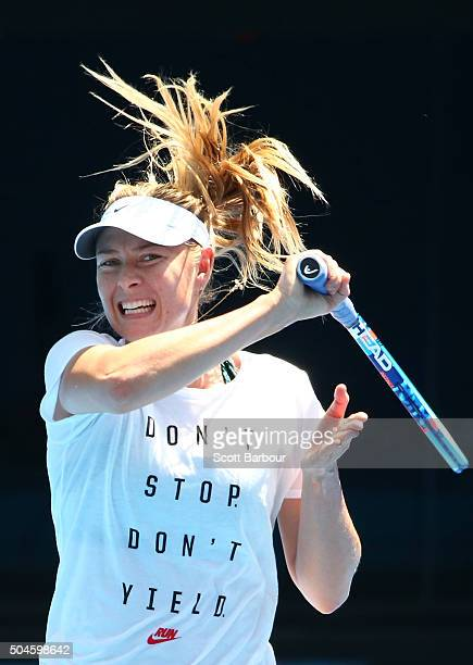 Maria Sharapova of Russia plays a forehand during a practice session ahead of the 2016 Australian Open at Melbourne Park on January 12 2016 in...