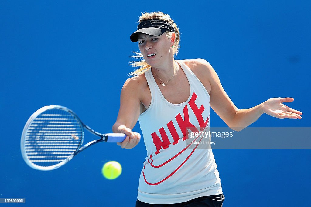 Maria Sharapova of Russia plays a forehand in a practice session during day ten of the 2013 Australian Open at Melbourne Park on January 23, 2013 in Melbourne, Australia.