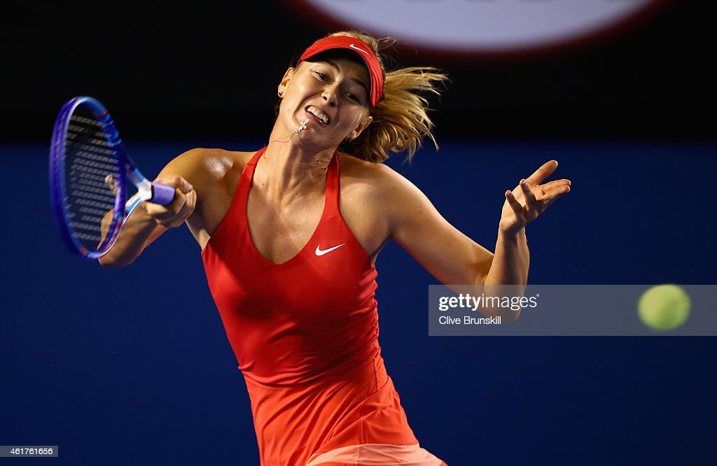 Maria Sharapova of Russia plays a forehand in her first round match against Petra Martic of Croatia during day one of the 2015 Australian Open at Melbourne Park on January 19, 2015 in Melbourne, Australia.
