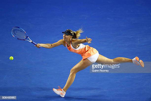 Maria Sharapova of Russia plays a forehand in her fourth round match against Belinda Bencic of Switerland during day seven of the 2016 Australian...