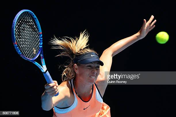 Maria Sharapova of Russia plays a forehand in her quarter final match against Serena Williams of the United States during day nine of the 2016...
