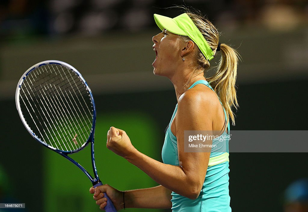 <a gi-track='captionPersonalityLinkClicked' href=/galleries/search?phrase=Maria+Sharapova&family=editorial&specificpeople=157600 ng-click='$event.stopPropagation()'>Maria Sharapova</a> of Russia plays a match against Klara Zakopalova of the Czech Republic during day eight of the Sony Open at Crandon Park Tennis Center on March 25, 2013 in Key Biscayne, Florida.