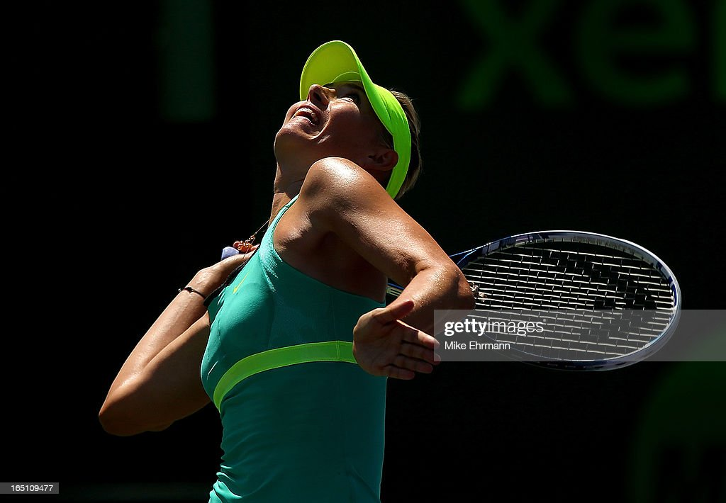 Maria Sharapova of Russia plays against Serena Williams in the final of the Sony Open at Crandon Park Tennis Center on March 30, 2013 in Key Biscayne, Florida.