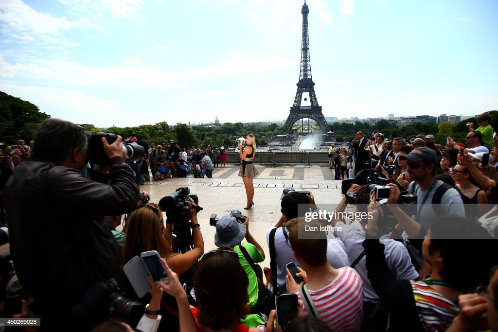<a gi-track='captionPersonalityLinkClicked' href=/galleries/search?phrase=Maria+Sharapova&family=editorial&specificpeople=157600 ng-click='$event.stopPropagation()'>Maria Sharapova</a> of Russia poses in front of the Eiffel Tower with the Coupe Suzanne Lenglen at Trocadero, following her victory in the women's singles final match against Simona Halep of Romania, on day fifteen of the French Open on June 8, 2014 in Paris, France.