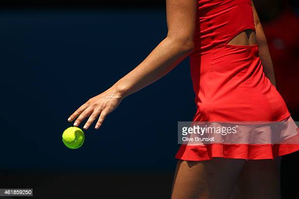 Maria Sharapova of Russia prepares to serve in her second round match against Alexandra Panova of Russia during day three of the 2015 Australian Open...