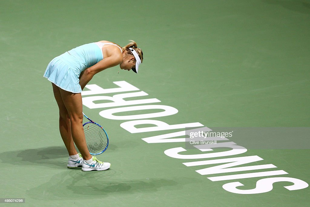 Maria Sharapova of Russia reacts during her semi-final match against Petra Kvitova of Czech Republic during the BNP Paribas WTA Finals at Singapore Sports Hub on October 31, 2015 in Singapore.