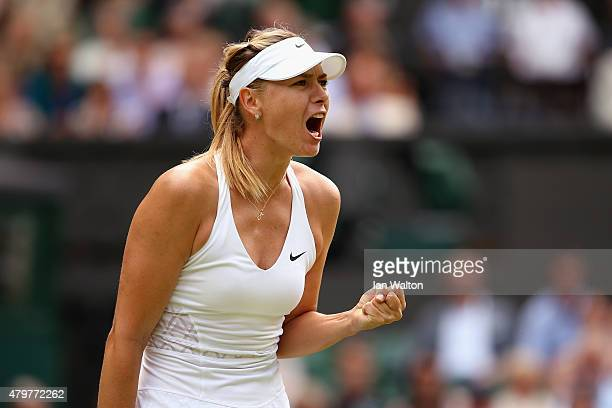 Maria Sharapova of Russia reacts in her Ladies Singles Quarter Final match against Coco Vandeweghe of the United States during day eight of the...