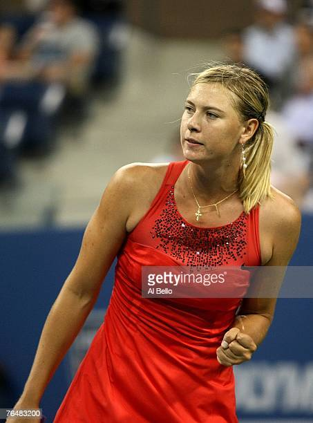 Maria Sharapova of Russia reacts to a point against Roberta Vinci of Italy during day two of the 2007 US Open at the Billie Jean King National Tennis...