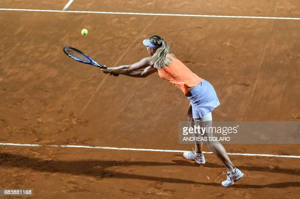 Maria Sharapova of Russia returns to Mirjana LucicBaroni of Croatia during their Rome ATP Tennis Open tournament on May 16 2017 at the Foro Italico...