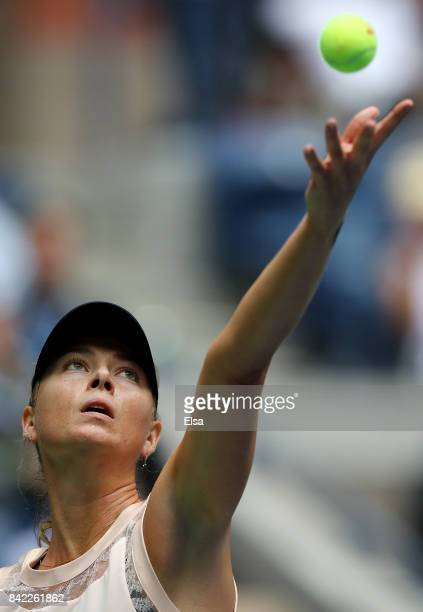 Maria Sharapova of Russia serves during her women's singles fourth round match against Anastasija Sevastova of Latvia on Day Seven of the 2017 US...