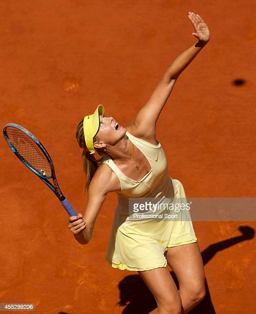 Maria Sharapova of Russia serves during the women's singles quarterfinal match between Maria Sharapova of Russia and Andrea Petkovic of Germany on...