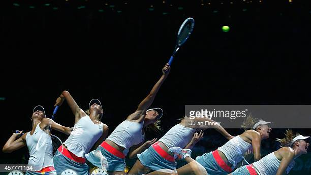 Maria Sharapova of Russia serves in her match against Agnieszka Radwanska of Poland during day five of the BNP Paribas WTA Finals tennis at the...
