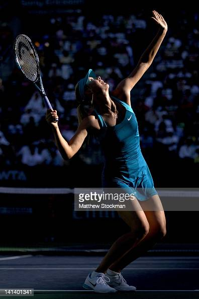 Maria Sharapova of Russia serves to Maria Kirilenko of Russia during the BNP Paribas Open at the Indian Wells Tennis Garden on March 15 2012 in...