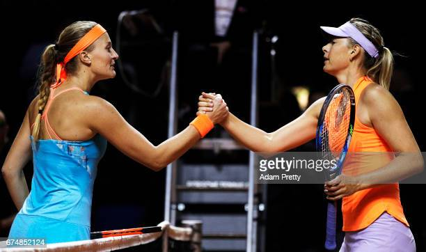 Maria Sharapova of Russia shakes hands after losing her match against Kristina Mladenovic of France during the Porsche Tennis Grand Prix at Porsche...