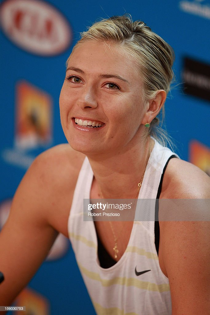 <a gi-track='captionPersonalityLinkClicked' href=/galleries/search?phrase=Maria+Sharapova&family=editorial&specificpeople=157600 ng-click='$event.stopPropagation()'>Maria Sharapova</a> of Russia speaks to the media ahead of the 2013 Australian Open at Melbourne Park on January 12, 2013 in Melbourne, Australia.