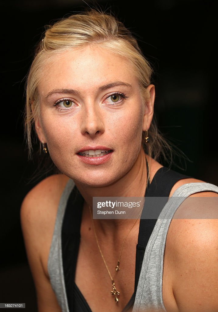 Maria Sharapova of Russia speaks to the media during All Access Hour during day 1 of the BNP Paribas Open at Indian Wells Tennis Garden on March 6, 2013 in Indian Wells, California. Soler-Espinosa won 6-7(7), 6-2, 6-1.