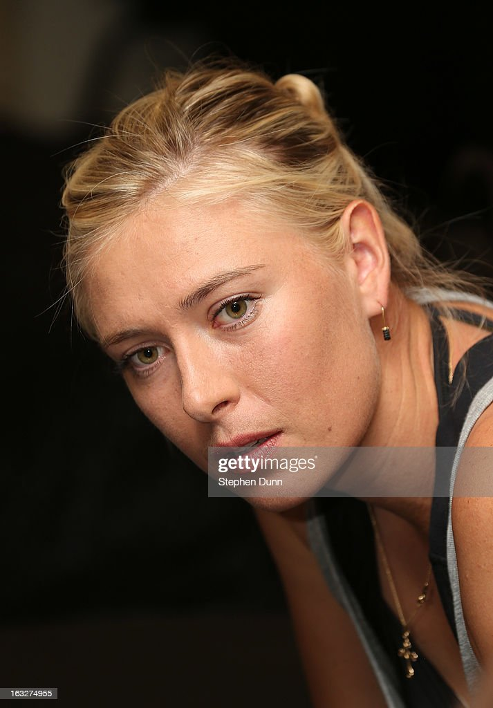 Maria Sharapova of Russia speaks to the media during All Access Hour during day 1 of the BNP Paribas Open at Indian Wells Tennis Garden on March 6, 2013 in Indian Wells, California.